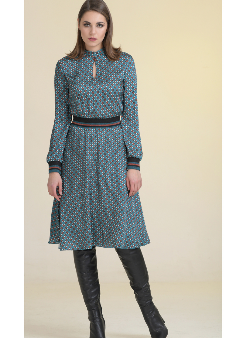 Estel Green Basketweave Print Long Sleeve Dress - Ribbon Rouge Boutiques