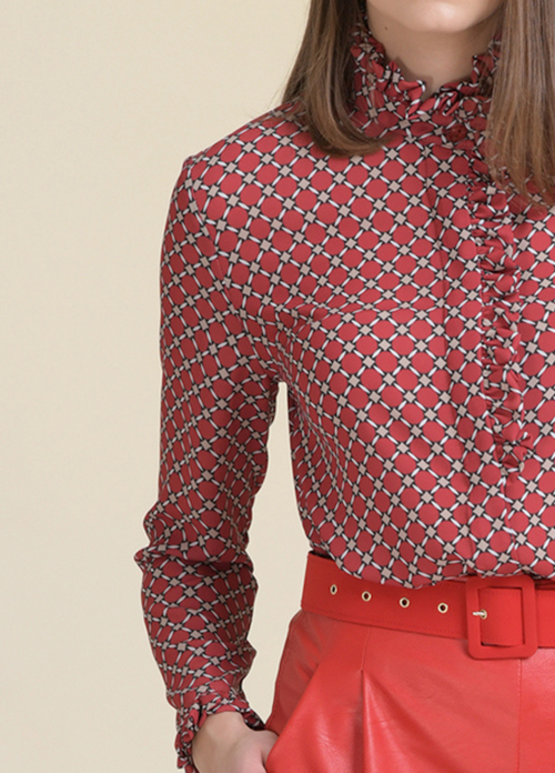 Estel Frill Detail Diamond Basketweave Print Blouse - Ribbon Rouge Boutiques