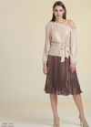 Estel Shimmery Pleated Midi Skirt - Ribbon Rouge Boutiques