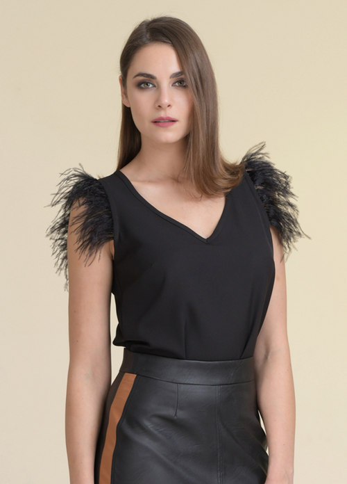 Estel Short Sleeve Feather Top - Ribbon Rouge Boutiques