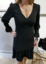 Estel Black V-Neck Frill Dress With Diamante Button Flute Sleeve - Ribbon Rouge Boutiques