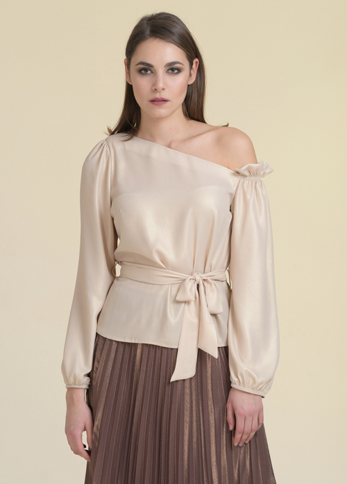 Estel Metallic One Shoulder Tie Belt Detail Top - Ribbon Rouge Boutiques