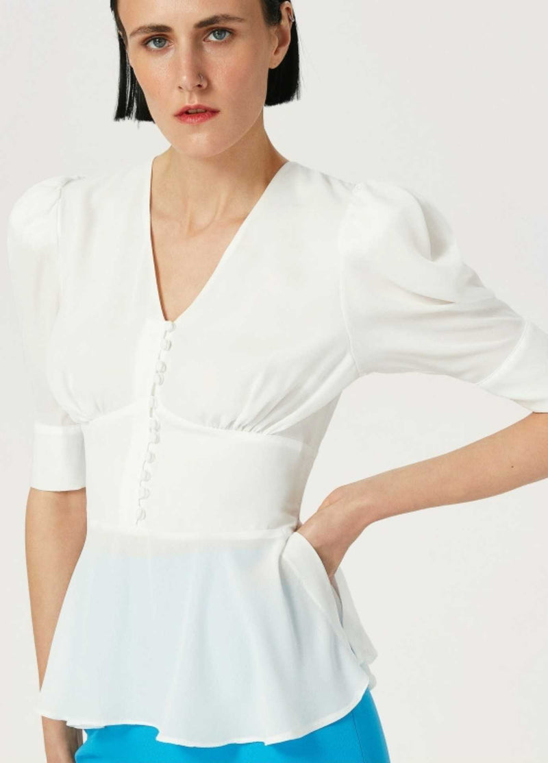 Exquise-Cream-Puff-Sleeve-Womens-Dressy-Top-With-Fitted-Waist
