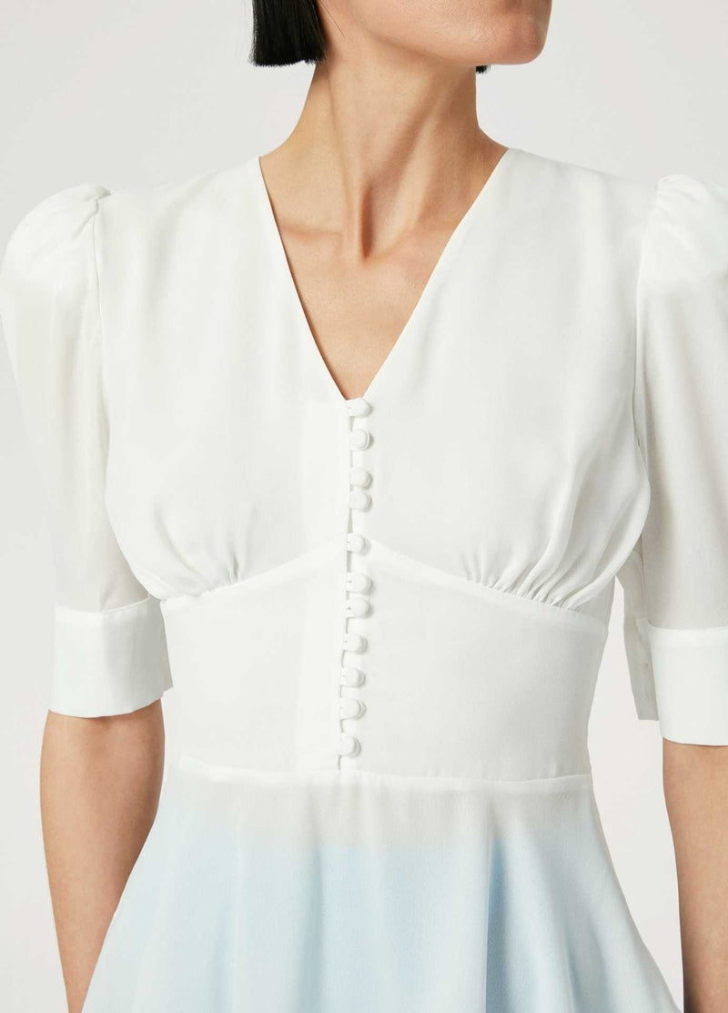 Exquise-Cream-Womens-Dress-Top-With-Puff-Sleeves-And-Fitted-Waist