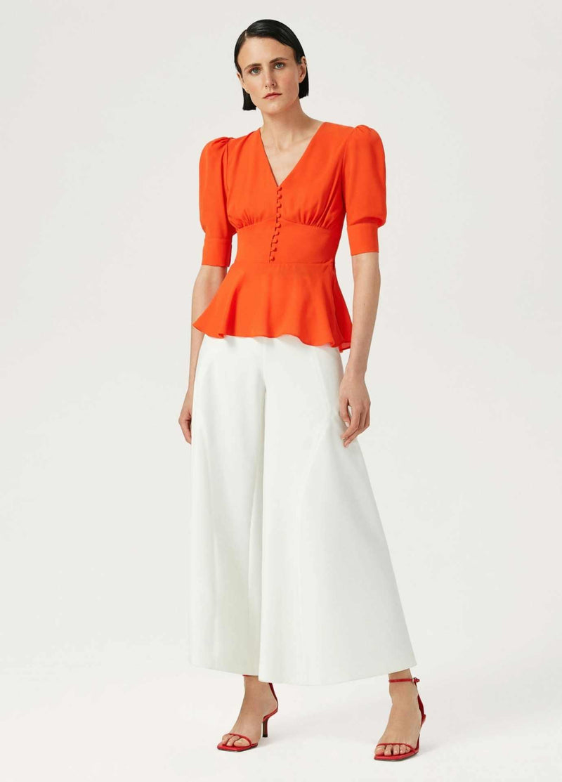 Exquise-Orange-Womens-Dressy-Top-With-Puff-Sleeves-And-Fitted-Waist