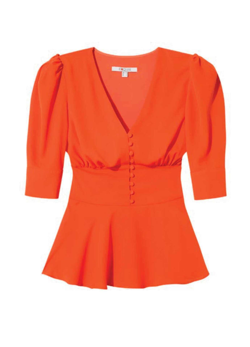 Exquise-Orange-Womens-Puff-Sleeve-Top-With-Fitted-Waist