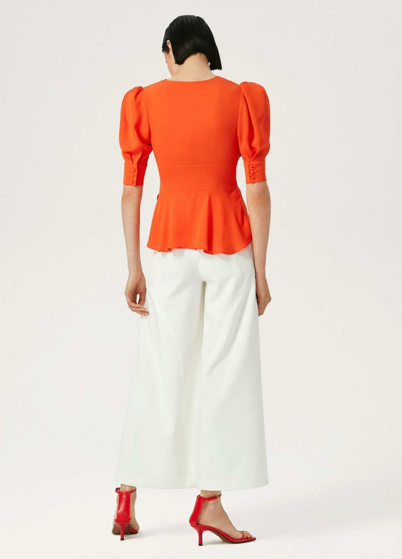 Exquise-Orange-WomensTop-With-Fitted-Waist-And-Short-Puff-Sleeves-Back
