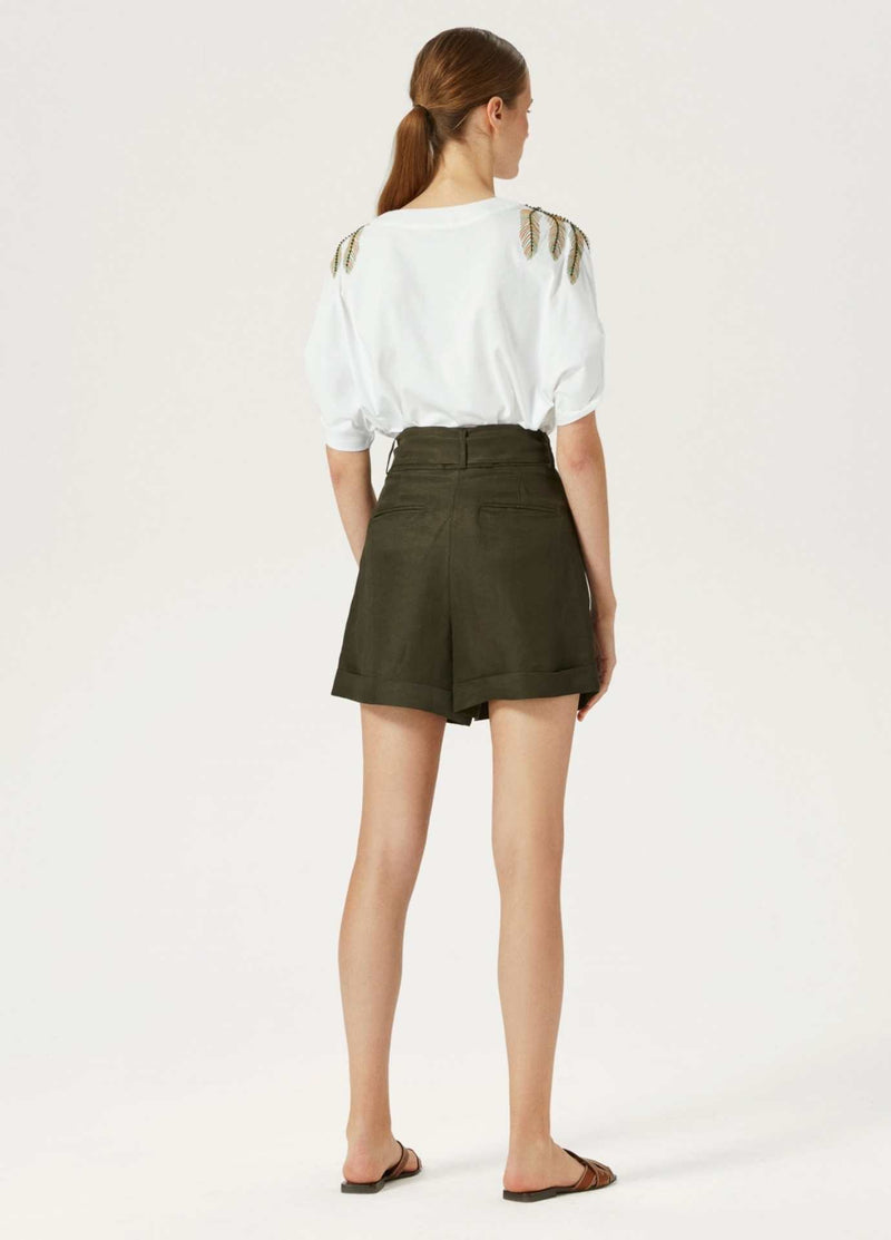 Exquise-Womens-Linen-Pleated-Khaki-Green-Shorts-Back-Slit-Pockets