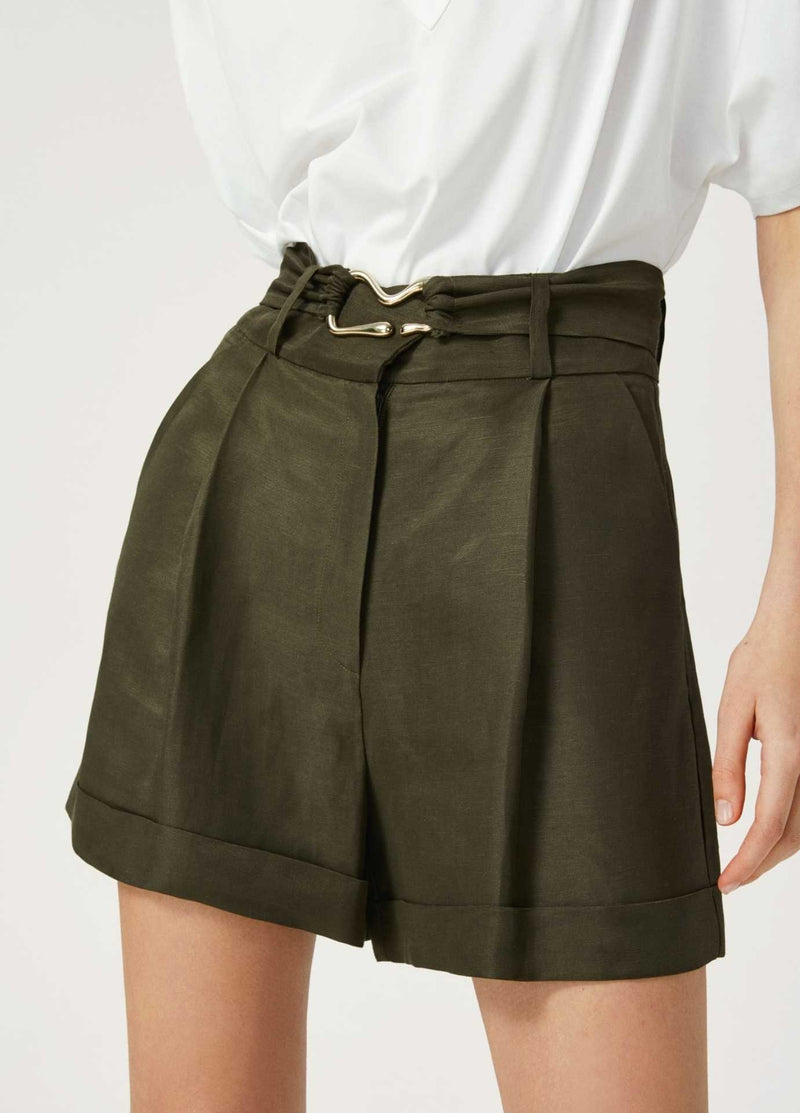 Exquise-Womens-Linen-Pleated-Khaki-Green-Shorts-With-Belt