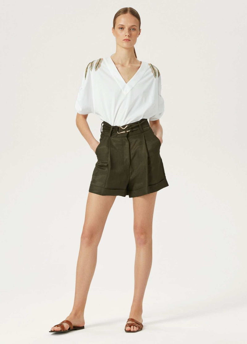 Exquise-Womens-Linen-Pleated-Shorts-With-Belt-In-Khaki-Green