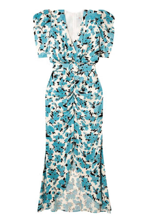 Exquise-Blue-Floral-Print-Puff-Sleeve-Long-Maxi-Dress