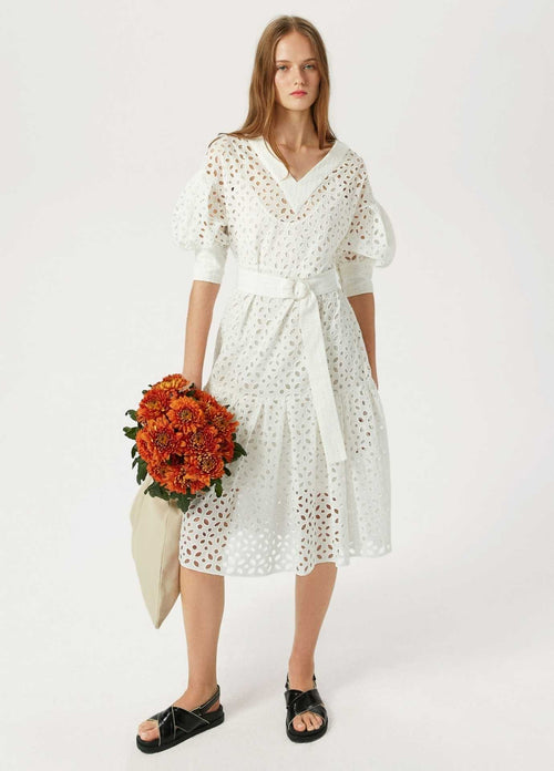 Exquise-1218031-Womens-Off-White-Broderie-Anglaise-Puff-Sleeve-Dress-With-Belt