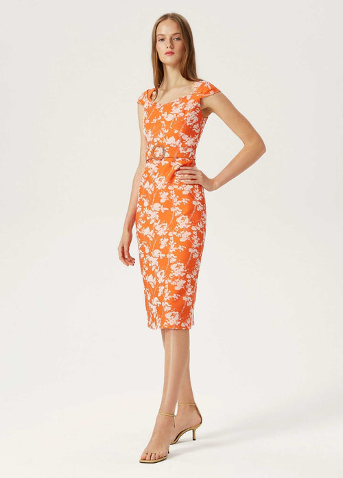 Exquise-1218038-Womens-Cap-Sleeve-Pencil-Occasion-Dress-With-Belt