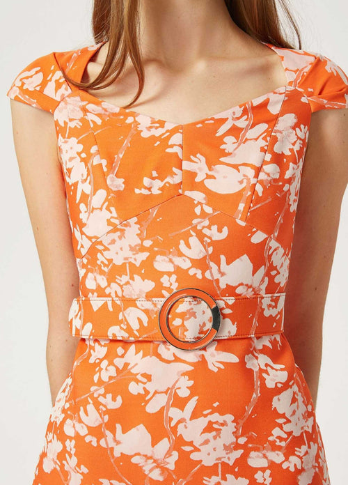 Exquise-1218038-Womens-Orange-Pencil-Occasion-Dress-With-Belt-Details-Up-Close