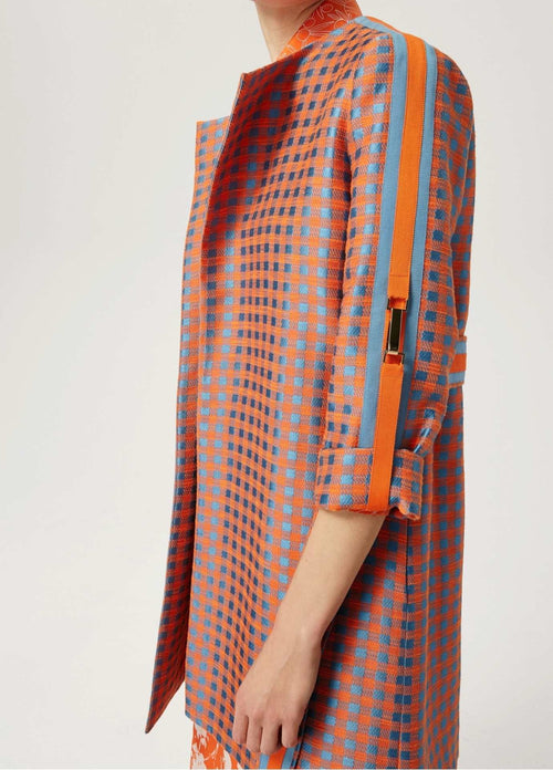 Exquise-Collarless-Square-Pattern-Womens-Trench-Coat-With-Cropped-Sleeves-Ribbon-Rouge