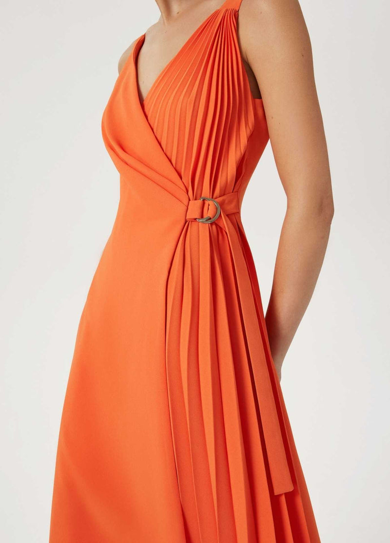 Exquise-Elbie-Womens-Long-Wrap-Style-Pleated-Dress-With-V-Neck-For-An-Event