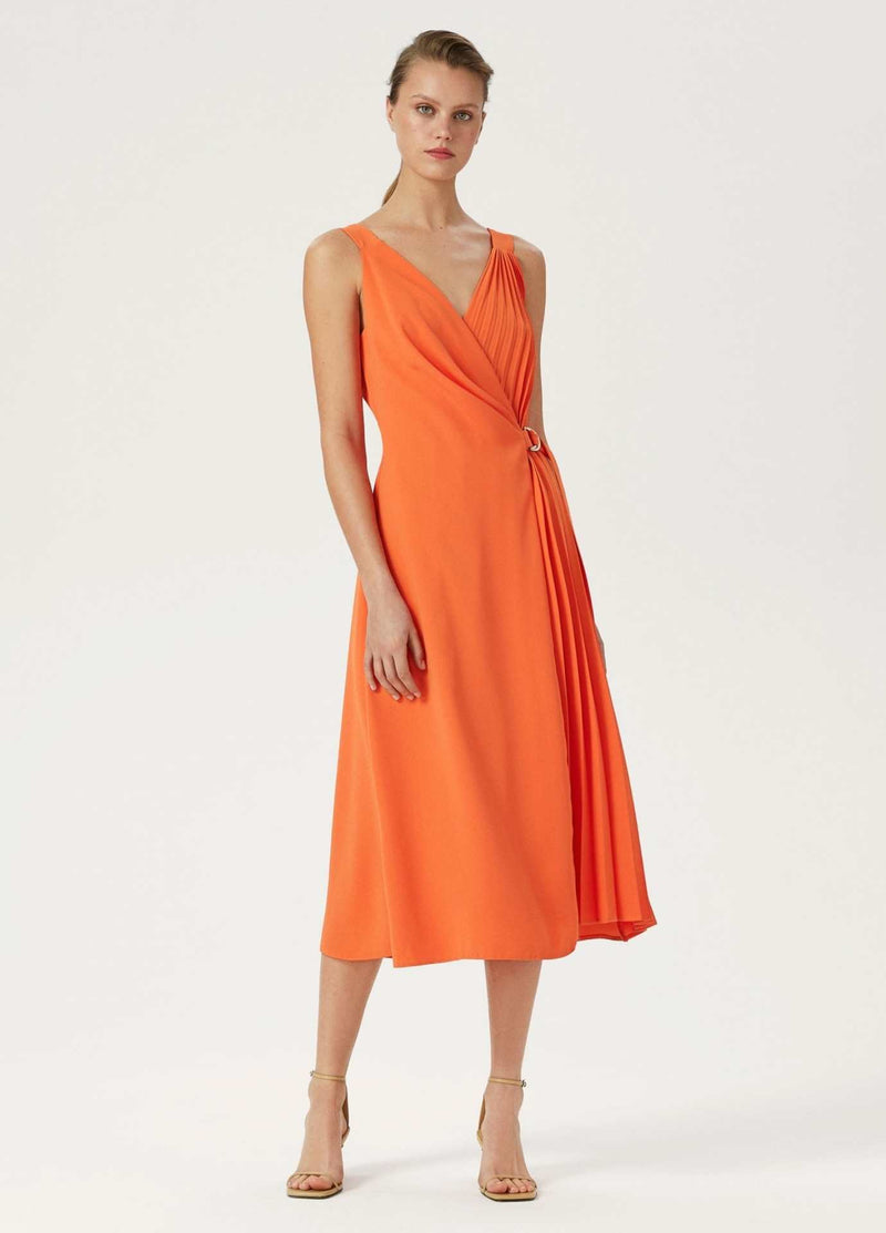 Exquise-Elbie-Womens-Pleated-Wrap-Style-Long-Occasion-Dress-With-Straps
