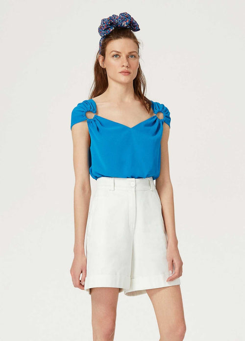 Exquise-SS21-1207016-Summer-Blue-Womens-Cap-Sleeve-Top-Ribbon-Rouge
