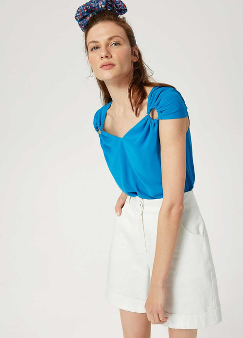 Exquise-SS21-1207016-Summer-Blue-Womens-Cap-Sleeve-Top-Ribbon-Rouge-Ireland