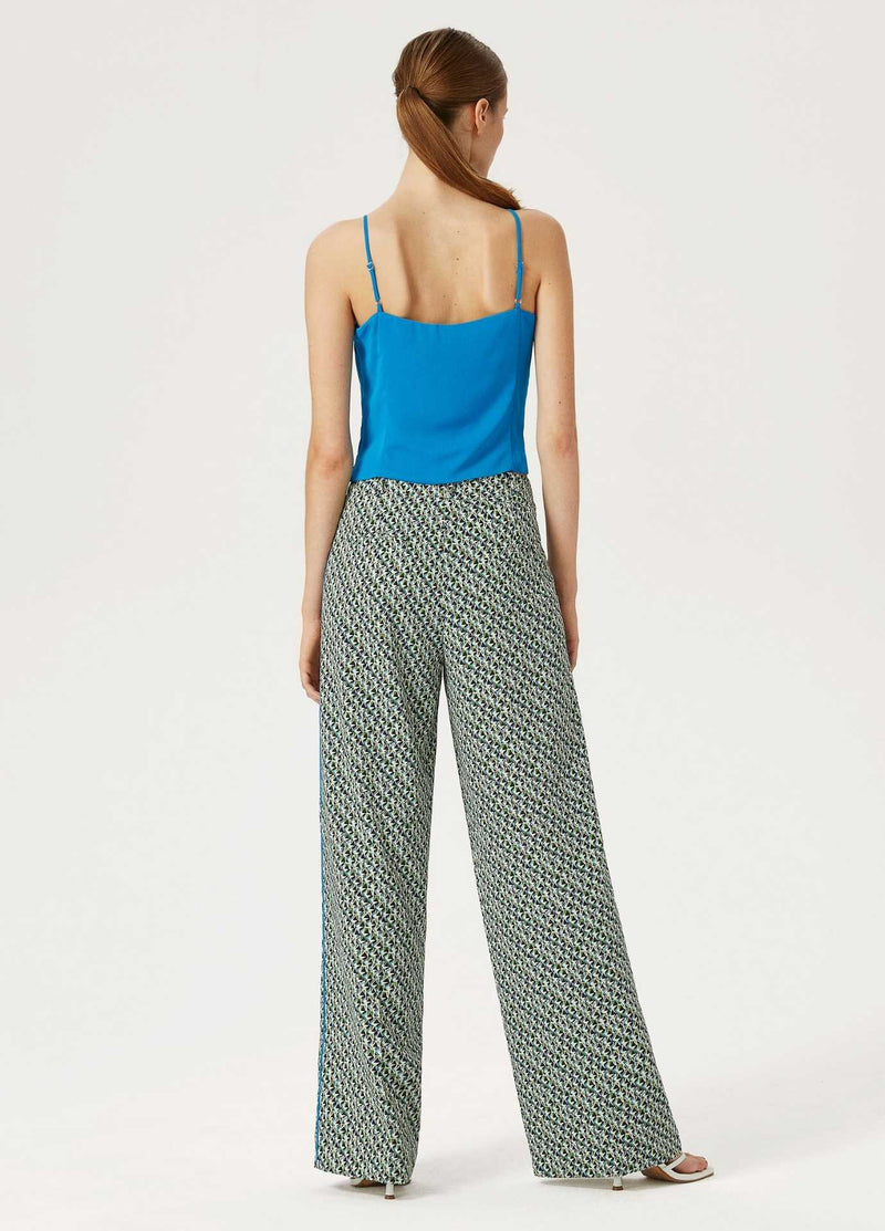 Exquise-SS21-1210014-Blue-And-Green-Womens-Wide-Leg-Trousers-From-the-Back-Ribbon-Rouge