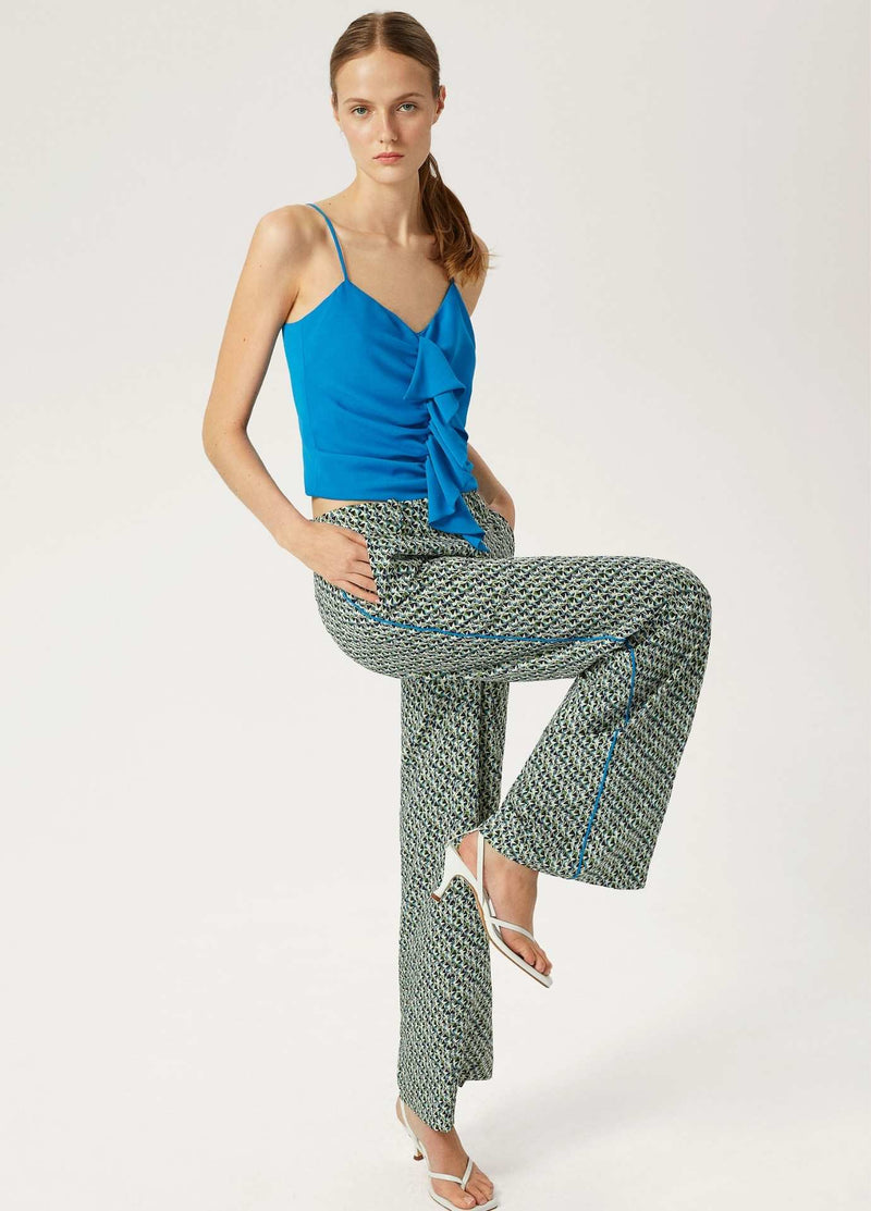 Exquise-SS21-1210014-Blue-And-Green-Womens-Wide-Leg-Trousers-Ribbon-Rouge