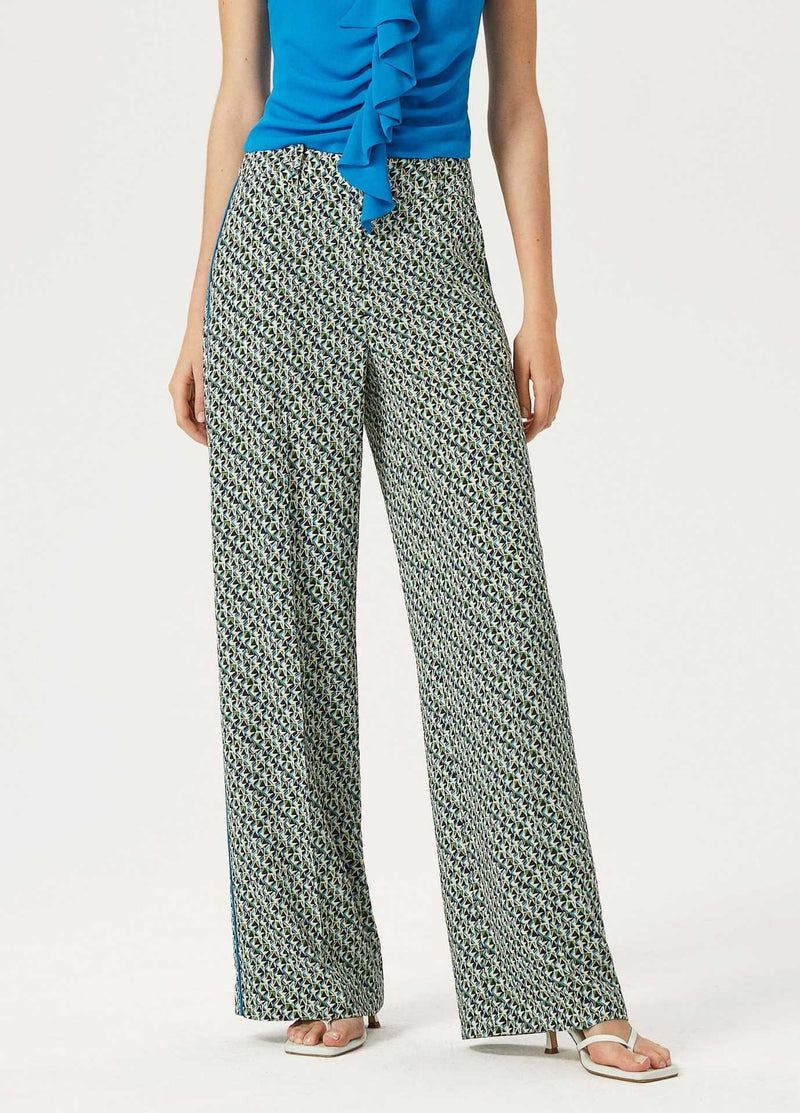 Exquise-SS21-1210014-Blue-And-Green-Womens-Wide-Leg-Trousers-With-Side-Piping-Ribbon-Rouge-Ireland.