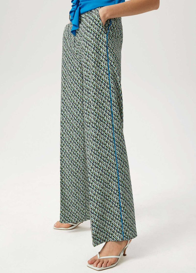 Exquise-SS21-1210014-Blue-And-Green-Womens-Wide-Leg-Trousers-With-Side-Piping-Ribbon-Rouge