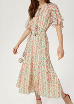 Exquise-SS21-1218058-Womens-Folral-Print-Long-Dress-With-Short-Sleeves-Ribbon-Rouge