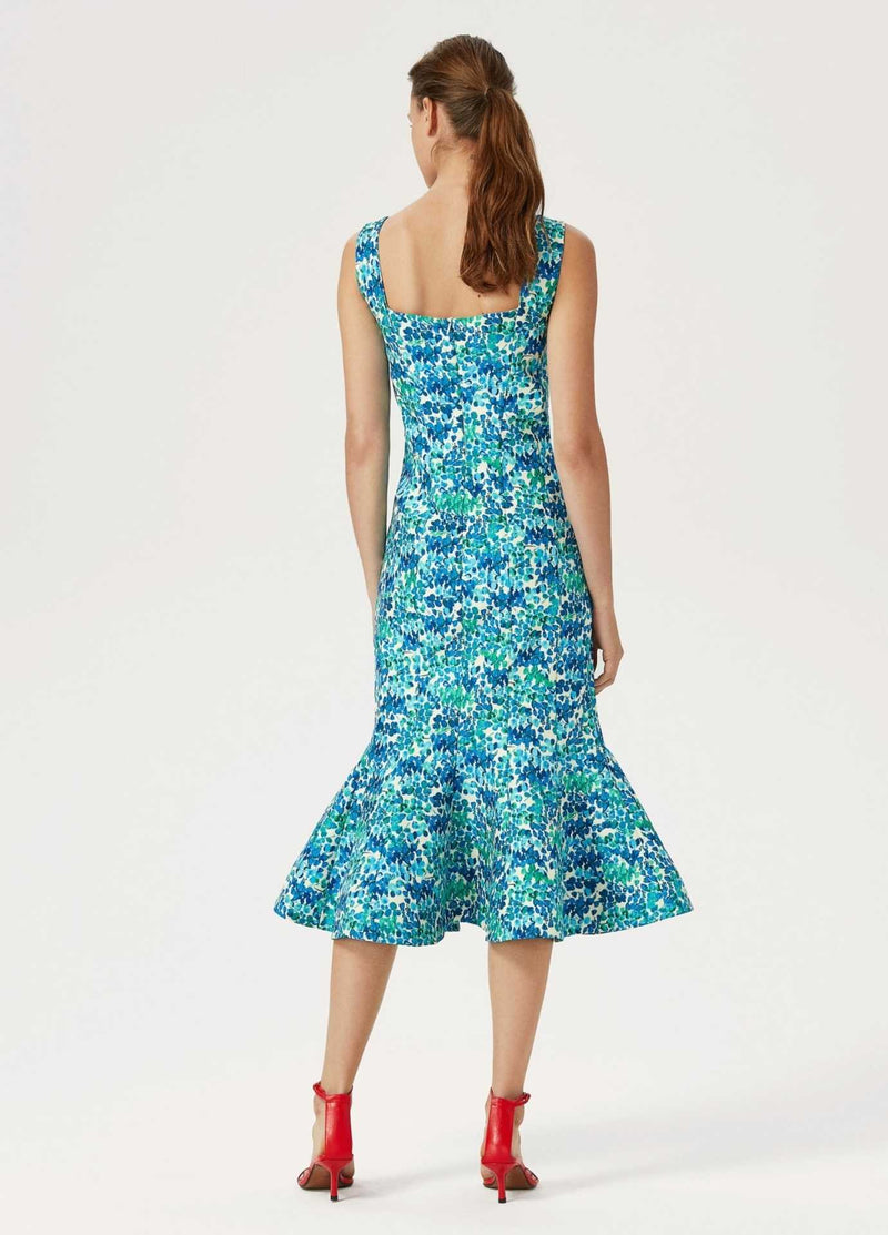 Exquise-Womens-Sleeveless-Exquise-Blue-Green-Floral-Print-Occasion-Dress-From-Back