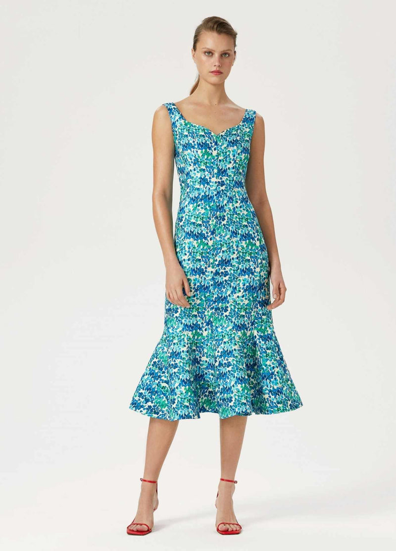 Exquise-Womens-Sleeveless-Exquise-Blue-Green-Floral-Print-Occasion-Mid-Length-Ruffle-Dress