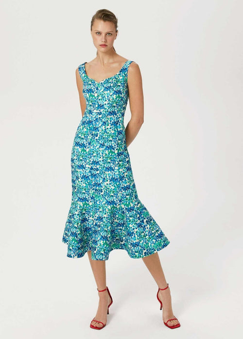 Exquise-Womens-Sleeveless-Exquise-Blue-Green-Floral-Print-Occasion-Ruffle-Dress