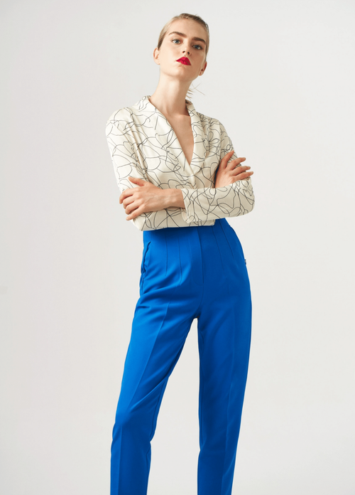 Exquise Slim Leg Sapphire Blue Trousers - Ribbon Rouge Boutiques