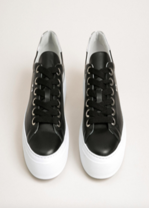 Nero Giardini Black & White Stripe Womens Platform Leather Trainers Ribbon Rouge Front