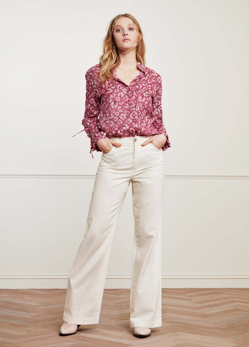 Fabienne-Chapot-Becca-Ladies-Blouse-In-Red-Print-With-White-Jeans-Ribbon-Rouge-Ireland
