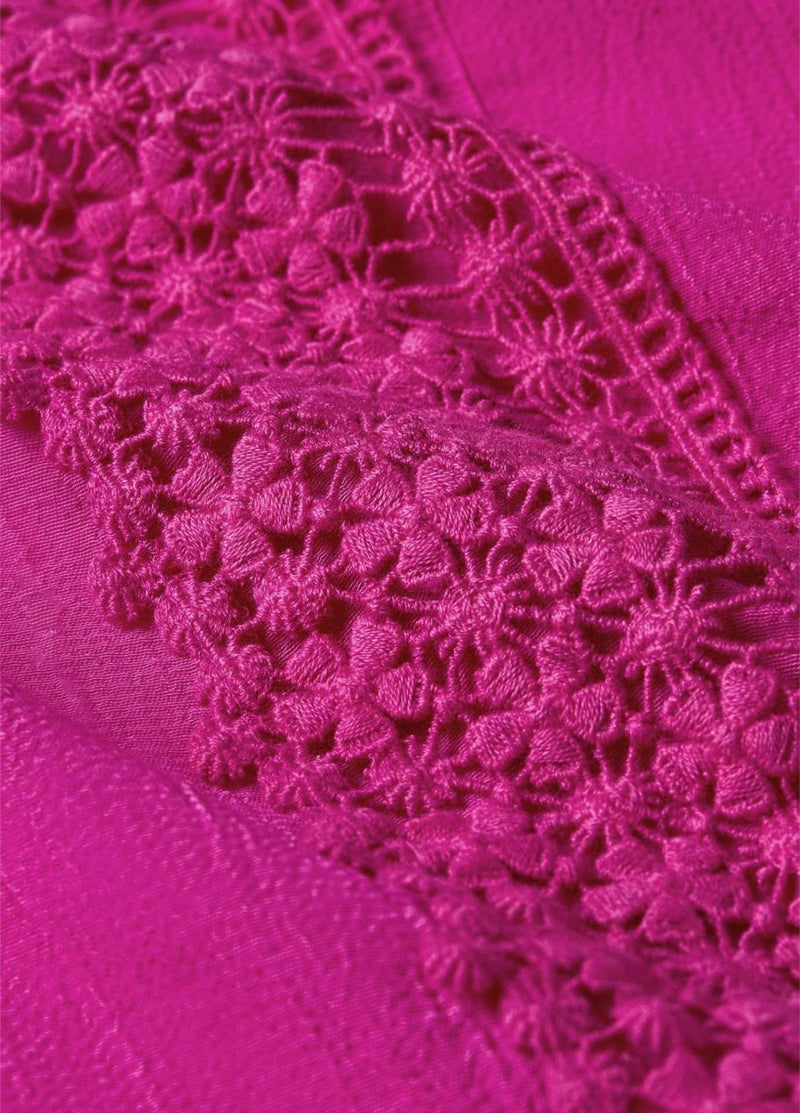 fabienne chapot womens bright pink top close up of lace detail