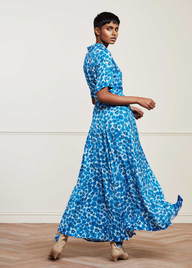 Fabienne-Chapot-Mia-Blue-Pansy-Ladies-Maxi-Shirt-Dress-From-The-Back-Ribbon-Rouge-Ireland