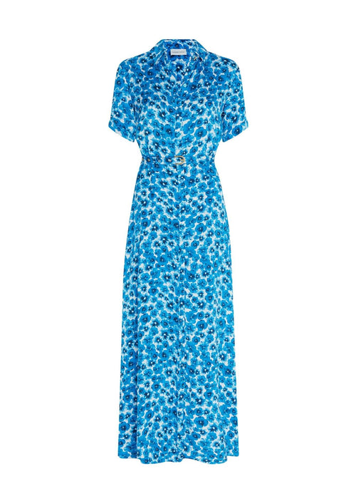 Fabienne-Chapot-Mia-Blue-Pansy-Print-Womens-Short-Sleeve-Maxi-Dress-With-Belt-Ribbon-Rouge-Online.