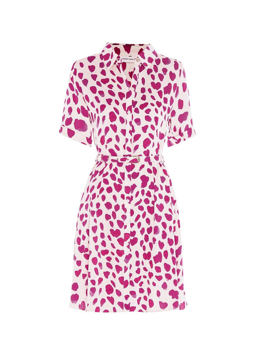Fabienne-Chapot-Mila-Ladies-Pink-White-Dress-With-Belt-In-Happy-Leopard-Print-Ribbon-Rouge-Ireland
