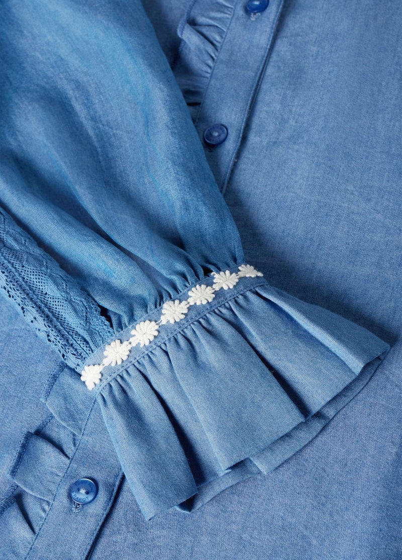 Fabienne-Chapot-Mimi-Womens-Denim-Shirt-With-Frill-On-The-Sleeves-Close-Up-Ribbon-Rouge