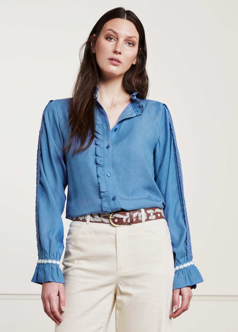Fabienne-Chapot-Mimi-Womens-Denim-Shirt-With-Lace-On-The-Sleeves-And-Frills-Ribbon-Rouge-Ireland
