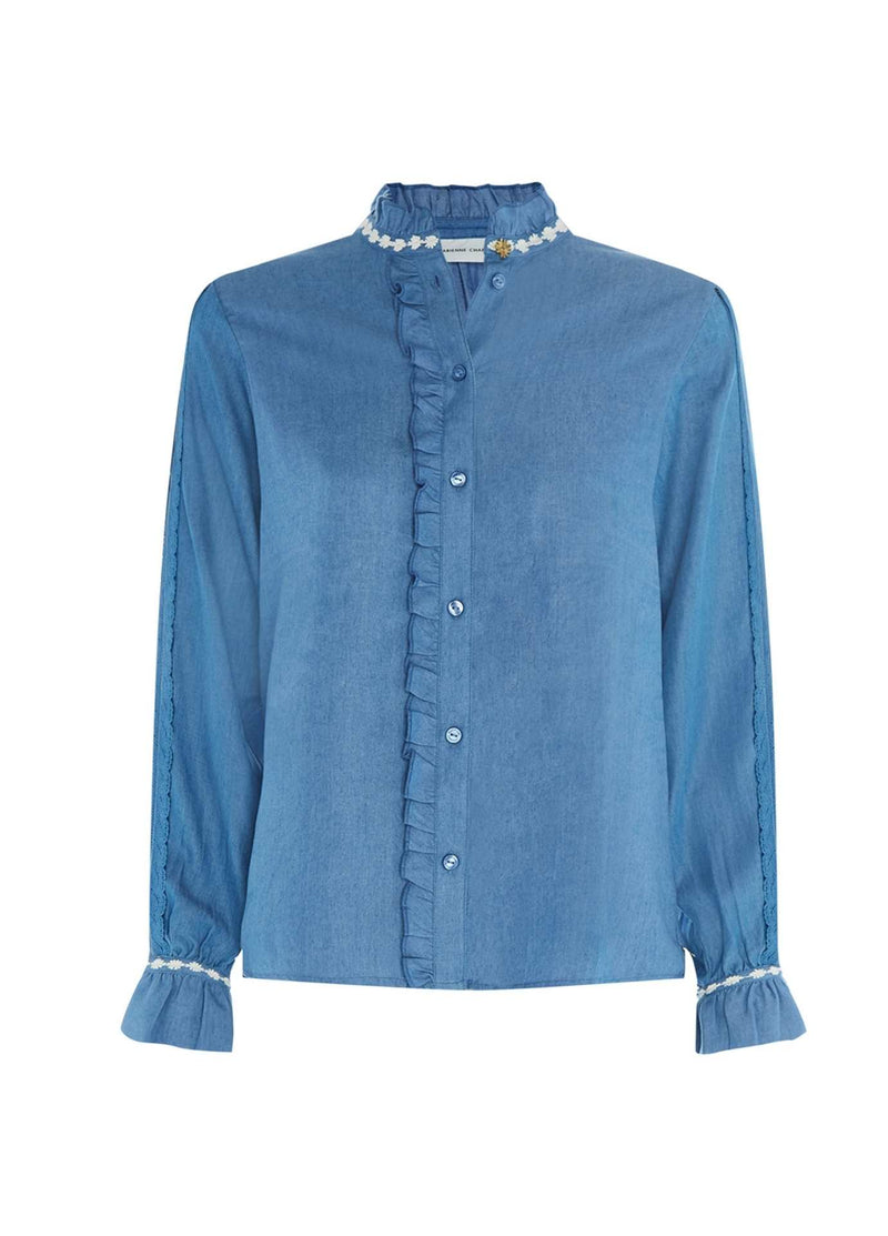Fabienne-Chapot-Mimi-Womens-Denim-Shirt-With-Lace-On-The-Sleeves-Ribbon-Rouge-Online