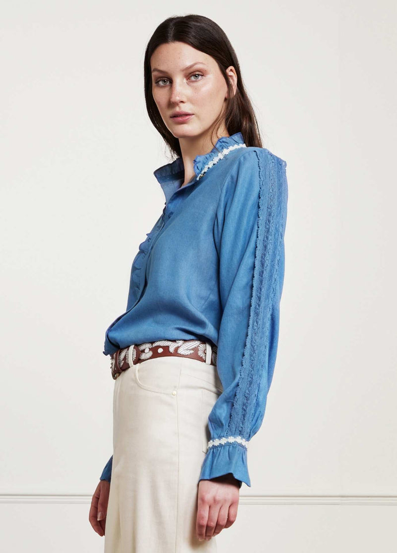 Fabienne-Chapot-Mimi-Womens-Denim-Shirt-With-Lace-On-The-Sleeves-Ribbon-Rouge