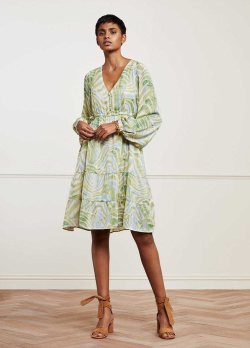 Fabienne-Chapot-SS21-Lola-Cato-Knee-Length-Womens-Dress-In-Green-Animal-Print-Ribbon-Rouge