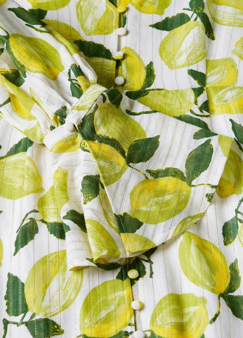 Fabienne-Chapot-SS21-Outshine-The-Bride-Green-Long-Lime-Print-Womens-Dress-Close-Up-Ribbon-Rouge