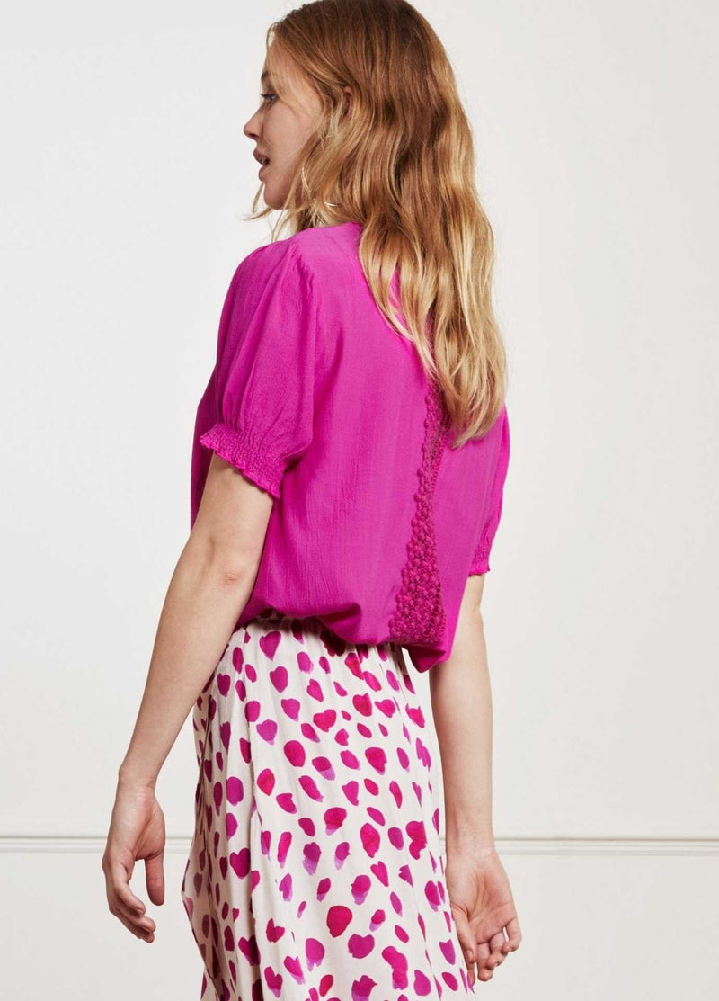 fabienne chapot womens fuschia pink short sleeve top with lace back details