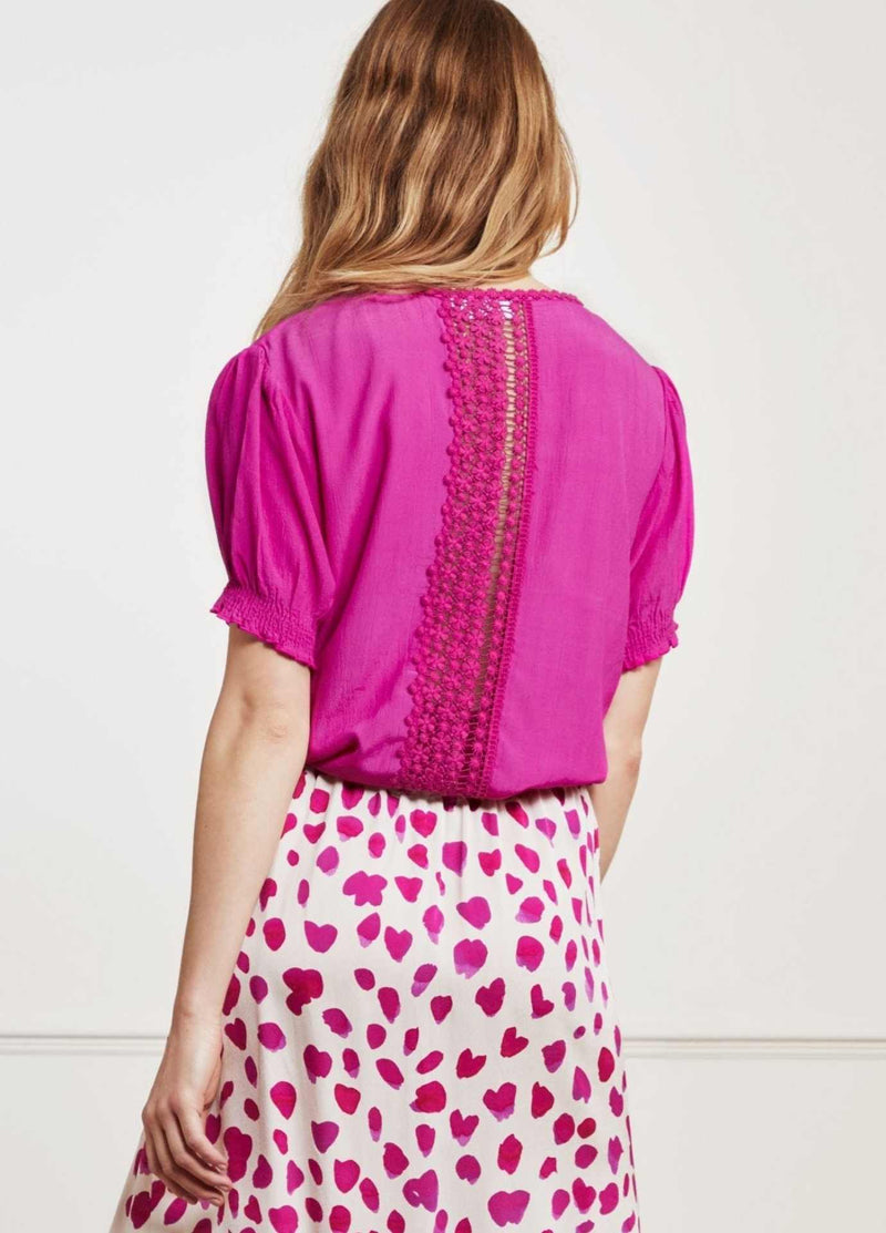 fabienne chapot womens fuschia pink short sleeve top with lace detail on the back