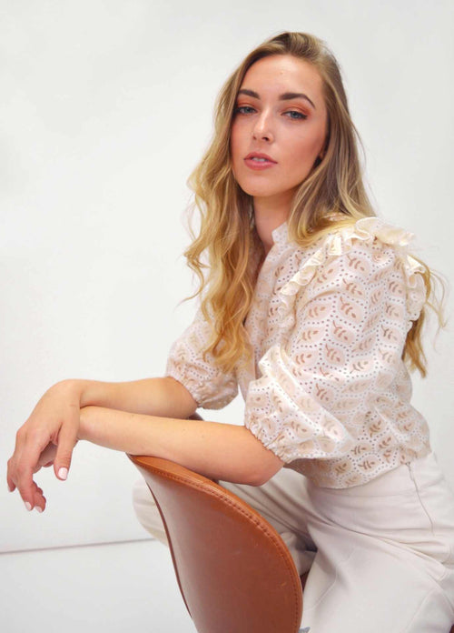 FeeG-576203-Cream-Leaf-Print-Puff-Sleeve-Dressy-Going-Out-Top-Close-Up