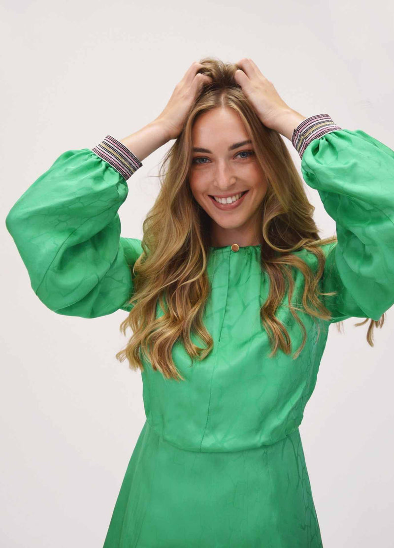 FeeG-7460-207-feeG-green-blouson-dress-occasion-dress-with-puff-sleeves-ribbon-rouge-ireland.