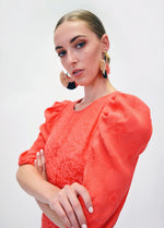 FeeG-7463_212-Orange-Red-Print-Puff-Sleeve-Dressy-Wedding-Guest-Occasion-dress-Close-Up