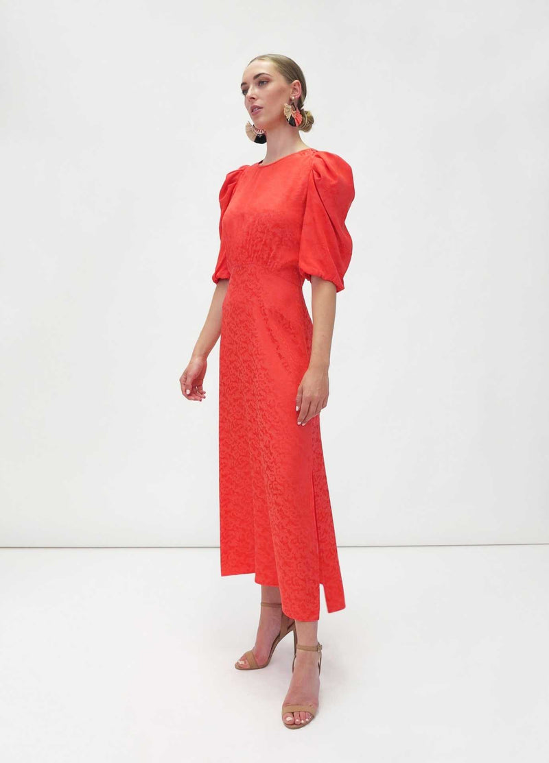 FeeG-7463_212-Orange-Red-Print-Puff-Sleeve-Dressy-Wedding-Guest-Occasion-dress